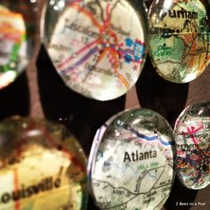 -Map Magnets...DIY. Great gift idea for the traveller, for a memorable or or for Christmas gifts. Places you have travelled or want to go.