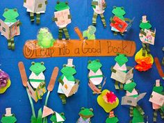 Show and Tell Tuesday - Spring Bulletin Boards ~Pinned by www.FernSmithsClassroomIdeas.com frog, bulletin boards, bulletinboard, librari, teach, spring bulletin, board idea
