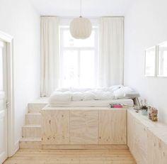Bedroom designed by Studio Oink I Remodelista designs for small bedrooms, kid bedrooms, small london bedroom, bedroom small natural clean, bedroom plywood, platform bedroom, plywood bedroom, bedroom platform, bedroom designs