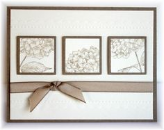 handmade card ... clean and simple design ... three inchies with two layers .... like the us of  a single color and a single stamp .... different sections punched for each inchie ... Stampin' Up!