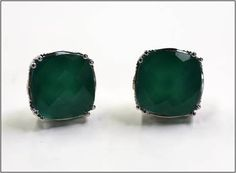 "Tacori ""Silver Crescent Basket"" studs in green onyx"