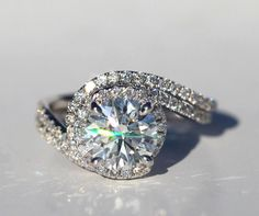 14k White gold - Diamond Engagement Ring and Wedding band set - Halo - UNIQUE -  Thin Swirl - Pave - Weddings- Luxury- Brides - Bp0013