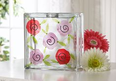 block vase, glasses, craft idea, glass block, fresh flowers, flower glass