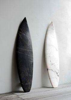 Marble surfboards by artist Reena Spaulings @ Sutton Lane