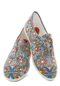 $50 - Think Outside the Bocce Flat in Floral, #ModCloth