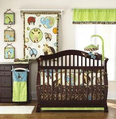 Zoo Zoo Baby Crib Bedding (Zoo animal baby crib bedding) This Zoo animal themed bedding with all the  details in green and chocolate with bright  highlights throughout. Monkeys, giraffes and  elephants peeking through cute shapes are the  main design of this crib set. Versatile enough  for a boy or a girl, the Zoo Zoo crib set will have  you wild over your baby's nursery decor!