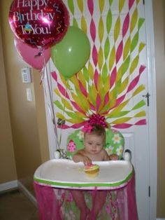 Decorated high chair balloons and streamers for Balloon and streamer decoration ideas