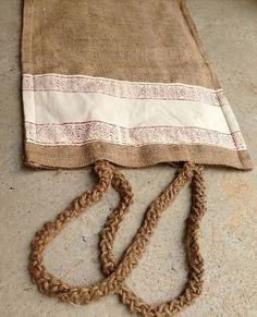handmade and handprinted jute handbag