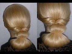 ▶ Причёска на каждый день,вечерняя причёска за 2 минуты.Пучок из волос.Prom Braid hairstyles.Coiffures - YouTube