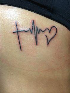 NURSE TATTOO -FAITH HOPE LOVE (CROSS, HEARTBEAT, HEART)