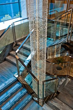 Lobby stairs at Westin Ningbo, designed by HBA/Hirsch Bedner Associates