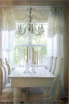 dining areas, dining rooms, farmhouse chic, dine room, white style, shabbi chic, shabby chic, curtain, elegant dining