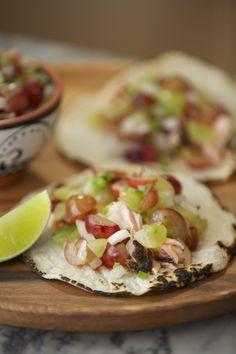 Grilled Salmon Tacos with Grape Pico de Gallo - use a homemade Paleo tortilla