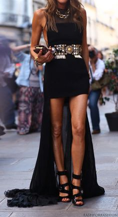 fashion, high low dresses, outfit, anna dello russo, the dress, belt, black gold, little black dresses, highlow