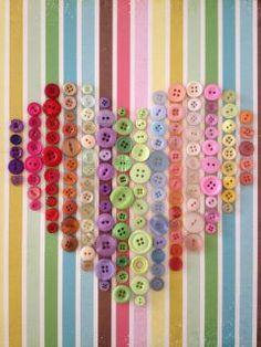 buttons idea, button art, button heart, color, button craft, scrapbook paper, buttons, craft room, rainbow