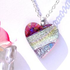 Fused Dichroic Glass Pendant Fused Glass Jewelry by IntoTheLight