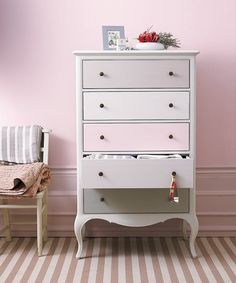 Our dressed-up dresser with a tonal-pink paint job won your admiration and Pin of the Week. Shown here: Sherwin-Williams's Rosebud, Snowfall, Grayish, and Essential Gray. | Photo: Chris Everard/IPC Images | thisoldhouse.com