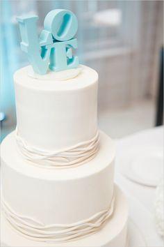 Pretty Blue Love Topper on White Cake first communion cake pastel para primera comunion