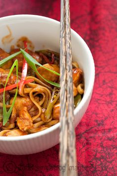 Sticky lemon and chilli chicken noodles
