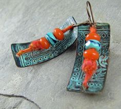 WoolyWire, Lampwork Glass and Metalwork Earrings by Linda Landig Jewelry $38
