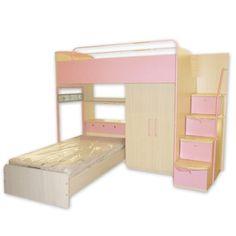 girl room, matt singl, kid bedroom, bunk beds, room idea, oak matt, light oak, pink matt, kid room