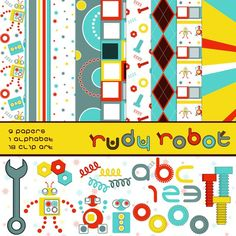 Robot theme digital scrapbook kit