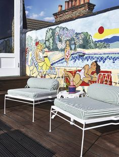 Pandora commissioned Christabel MacGreevy to paint a colourful mural. The chairs are from Raj Tent Club.