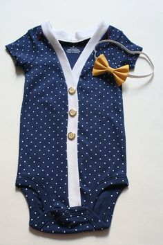 Baby Cardigan Onesie and Bow Set, Navy Blue and White Polka Dot Onesie Cardigan, Cardigan Onsie, Baby Girl Cardigan