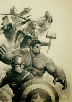 Great drawing of the avengers! super hero, fan art, marvel, pencil drawings, comic art, graphic art, pencil art, superhero, the avengers