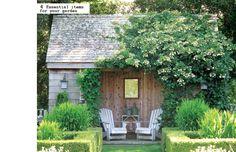 garden shed and sitting area in Ina Garten's garden, designed by Edwina von Gal, East Hampton, Long Island, New York