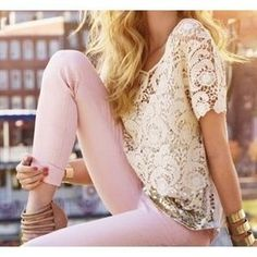 pastel pants and lace