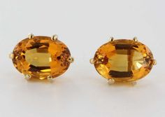 Yellow Gold Citrine Stud Earrings @ Ruby Lane