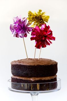 """More Ideas For """"Cake Toppers"""" (Mylar Pom Cake)...Click On Picture For Instructions..."""