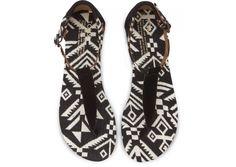 Black Woven Women's Playa Sandals top