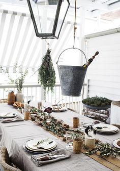 wines, table settings, buckets, rustic table, dinner parties, linens, rustic christmas, tabl set, vintage style