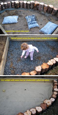 make your own sandpit. Using this guide but maybe with half rounds garden edging