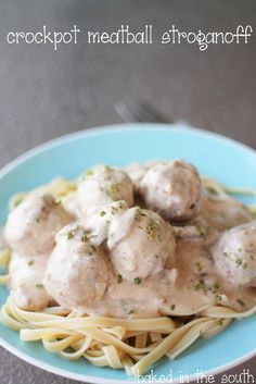 baked in the south: Crockpot Meatball Stroganoff