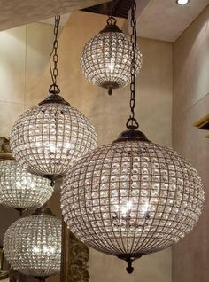 Crystal ball pendant light by Circa Antiques. Lovely.
