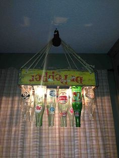Turn a vintage soft drink crate & bottles into a very cool light fixture.