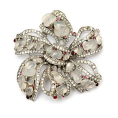 Trifari Moonstone Glass Bow Brooch