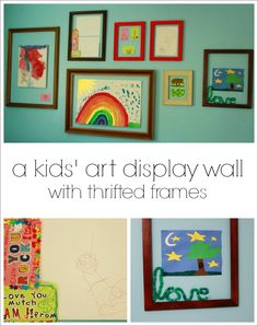 A Kids Art Display Wall with Thrifted Frames -- Looks great plus it's easy and quick to change out the children's art or add new creations. #organized #framedart #frame #recycle #thrift #reuse #preschool #prek #parenting #kindergarten #toddler #kids #children #craft #diy #creative #home #family #playroom #kidsroom #easy #simple