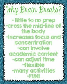 Who's Who and Who's New: Physical Activity in the Classroom: Brain Breaks