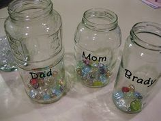 Gem Jars- positive behavior support at home.  Also check out Gem Jars 2.0 on this site for how to incorporate this into earning an allowance (spend, save, give) as they get older.