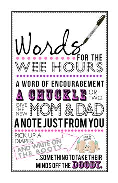 Words for the Wee Hours -Printable PDF for Girl Baby Shower