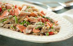 cook, salmon, penn primavera, eat, yummi recip, pasta, nom, seafood entre, food market