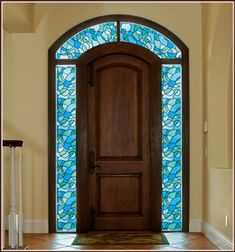 Odyssey Stained Glass Privacy Window Film.  Easily  add the look of stained glass to windows, glass doors, shower enclosures with this static cling film.