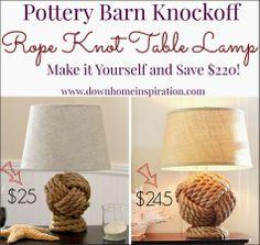 Pottery Barn Rope Table Lamp DIY: http://www.completely-coastal.com/2014/06/making-pottery-barn-monkey-fist-knot.html