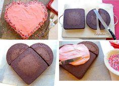 Easy cake valentine cake, heart cake, valentin cake, inspir idea, easy women cakes, easy cakes, easi cake