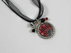 Rock Star Beaded Bottle Cap Necklace. $9.00, via Etsy.