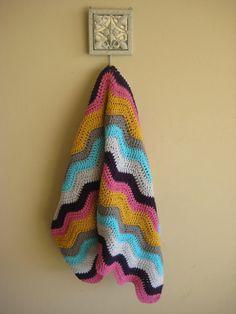 Missoni Inspired Ripple Crochet Blanket  #etsy #crochet